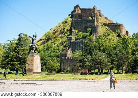 Gori, Georgia - June 13 2017:  Gori Fortress (goris Tsikhe), Ancient Fortress In The Birthplace Of J