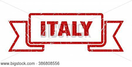 Italy Ribbon. Red Italy Grunge Band Sign