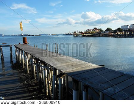 Georgetown, Penang, Malaysia, November 13, 2017: One Of The Tan Jetty Piers, The Floating Town Of Ge