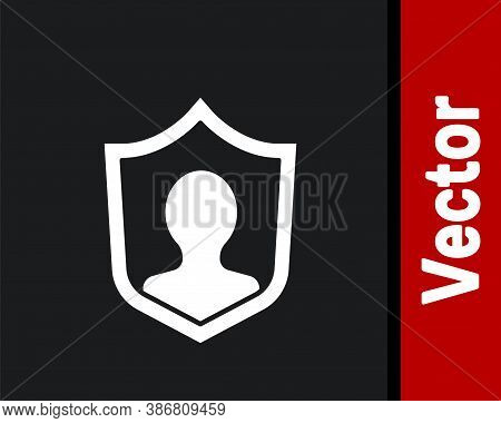White User Protection Icon Isolated On Black Background. Secure User Login, Password Protected, Pers