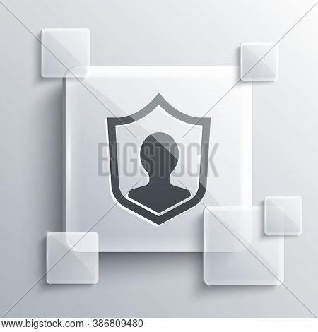 Grey User Protection Icon Isolated On Grey Background. Secure User Login, Password Protected, Person