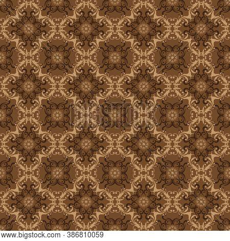 Elegant Flower Motifs On Solo Batik Design With Smooth Brown Color Concept.