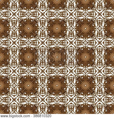 Unique Motifs Design On Bantul Batik With Simple White Brown Color Design.