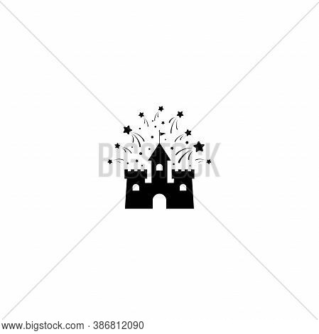 Castle With Stars Or Fireworks Icon. Tower, Fortress. Fairy Tale, Magic, Fantasy Logo.