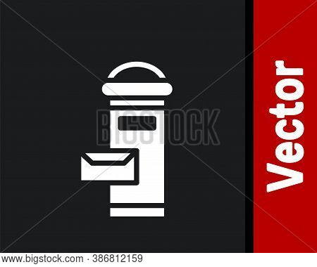 White Traditional London Mail Box Icon Isolated On Black Background. England Mailbox Icon. Mail Post