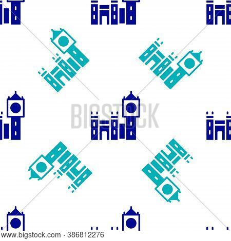Blue Big Ben Tower Icon Isolated Seamless Pattern On White Background. Symbol Of London And United K