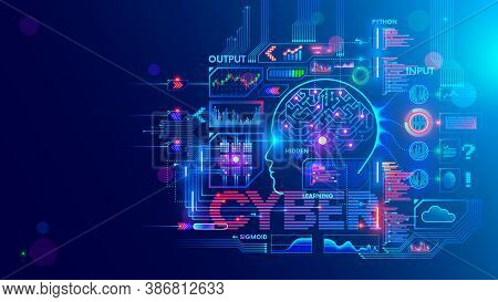 Computer Neural Network Or Ai On Programming Language Python. Abstract Interface Elements Of Artific