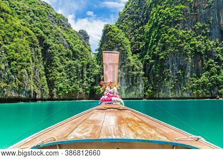 Traditional Longtail Boat With Beautiful Scenery View Phi Phi Island At Phuket, Thailand
