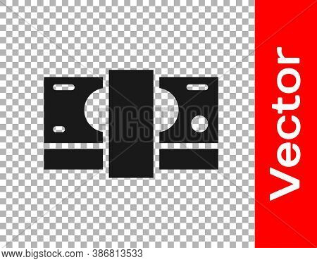 Black Stacks Paper Money Cash Icon Isolated On Transparent Background. Money Banknotes Stacks. Bill