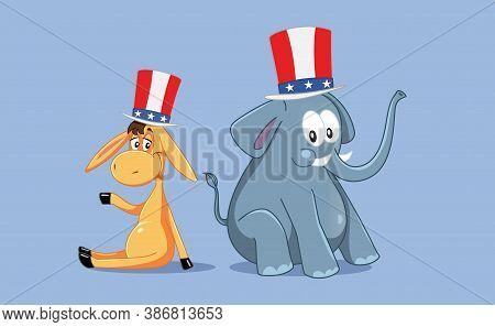 Democratic And Republican Mascots For American Elections