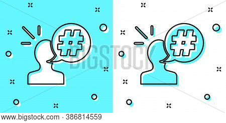 Black Line Protest Icon Isolated On Green And White Background. Meeting, Protester, Picket, Speech,