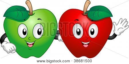 Mascot Illustration Featuring a Green Apple and a Red Apple Hanging Out Together
