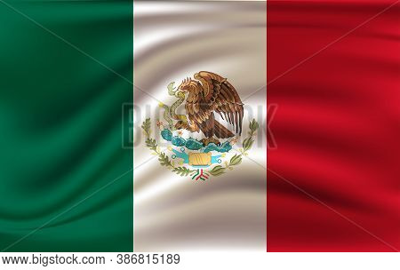 Realistic Waving Flag Of The Waving Flag Of Mexico, High Resolution Fabric Textured Flowing Flag,vec