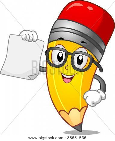 Mascot Illustration of a Pencil Holding a Blank Piece of Paper