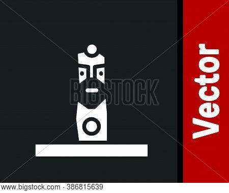 White Slavic Pagan Idol Icon Isolated On Black Background. Antique Ritual Wooden Idol. Vector