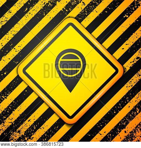Black Location Russia Icon Isolated On Yellow Background. Navigation, Pointer, Location, Map, Gps, D