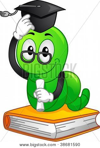 Mascot Illustration Featuring a Bookworm Wearing a Graduation Cap and Holding a Diploma