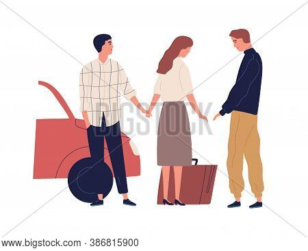 Betrayed Husband Saying Goodbye Wife Going To Another Man Vector Flat Illustration. Female With Suit