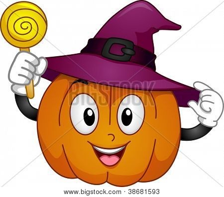Mascot Illustration Featuring a Pumpkin Wearing a Witch Hat and Holding a Lollipop