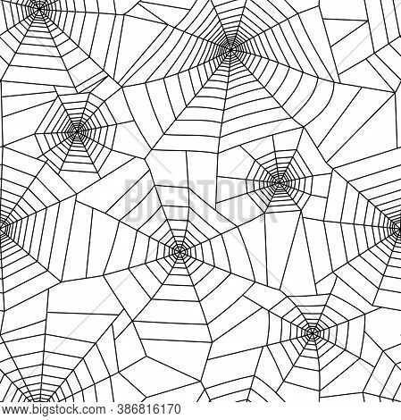 Spider Web Pattern For Template. Halloween Decoration With Cobweb. Spiderweb Flat Vector Illustratio