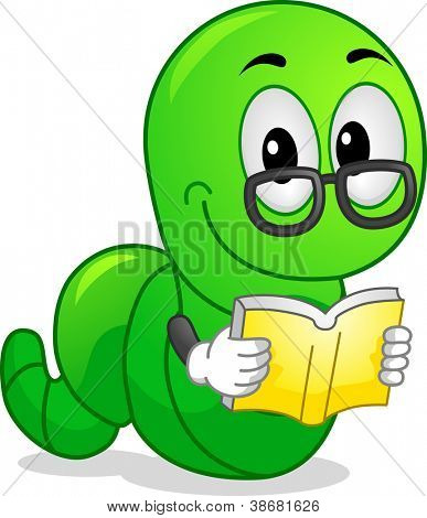 Mascot Illustration Featuring a Worm Reading a Book