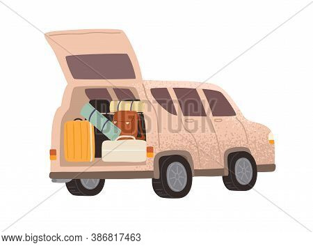 Touristic Automobile With Open Trunk Full Of Adventure Equipment Vector Flat Illustration. Campervan