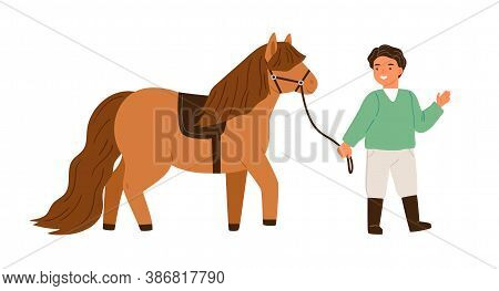 Smiling Little Boy Walking With Pony Holding Bridle Vector Flat Illustration. Happy Male Child Spend