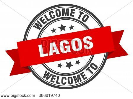 Lagos Stamp. Welcome To Lagos Red Sign