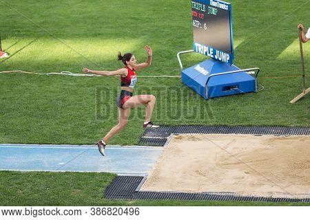 Istanbul, Turkey - September 12, 2020: Undefined Athlete Triple Jumping During Balkan U20 Athletics