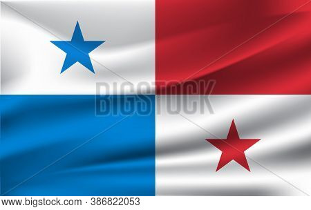 3d Waving Flag Of Panama. Vector Illustration