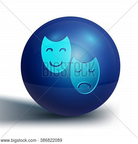 Blue Comedy And Tragedy Theatrical Masks Icon Isolated On White Background. Blue Circle Button. Vect