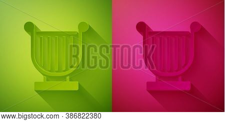 Paper Cut Ancient Greek Lyre Icon Isolated On Green And Pink Background. Classical Music Instrument,