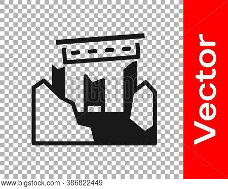 Black Ancient Ruins Icon Isolated On Transparent Background. Vector