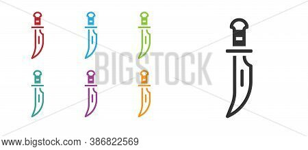Black Dagger Icon Isolated On White Background. Knife Icon. Sword With Sharp Blade. Set Icons Colorf