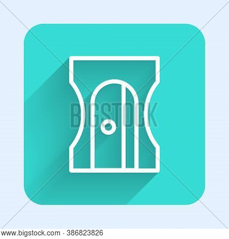 White Line Pencil Sharpener Icon Isolated With Long Shadow. Green Square Button. Vector Illustration