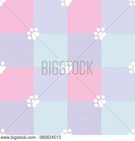 Cute Seamless Patchwork Quilt Pattern With Paw Prints. Great For Baby Fabric, Textile, Nursery Wallp