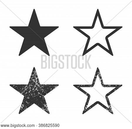 Star Shape Icon. Vector Illustration Image. Rating And Review Symbol With Grunge Texture. Decoration
