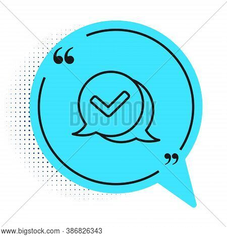 Black Line Check Mark In Speech Bubble Icon Isolated On White Background. Security, Safety, Protecti