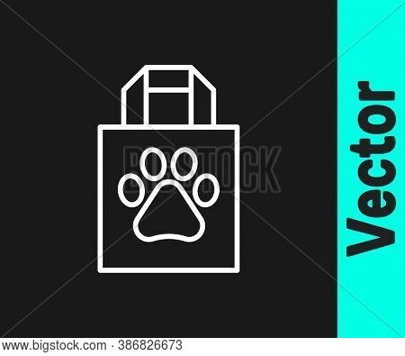 White Line Shopping Bag Pet Icon Isolated On Black Background. Pet Shop Online. Animal Clinic. Vecto