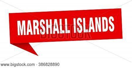 Marshall Islands Sticker. Red Marshall Islands Signpost Pointer Sign