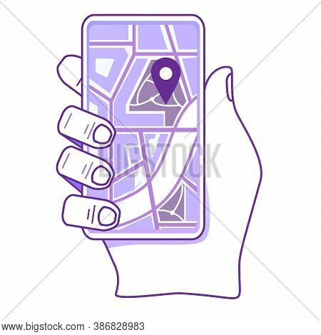 Hand Holding Smartphone With Map On Screen. Concept Of Mobile City Navigation Location Mark.