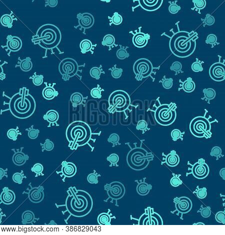 Green Line Target With Arrow Icon Isolated Seamless Pattern On Blue Background. Dart Board Sign. Arc