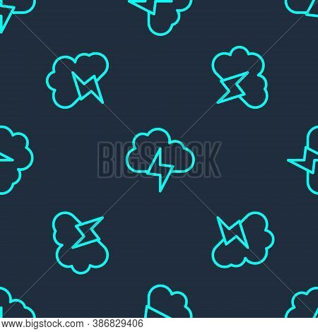 Green Line Storm Icon Isolated Seamless Pattern On Blue Background. Cloud And Lightning Sign. Weathe