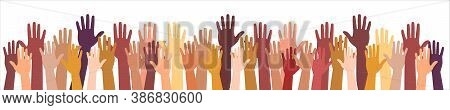 Colored Volunteer Crowd Hands Isolated On White Background. Raised Hand Silhouettes, People Colorful