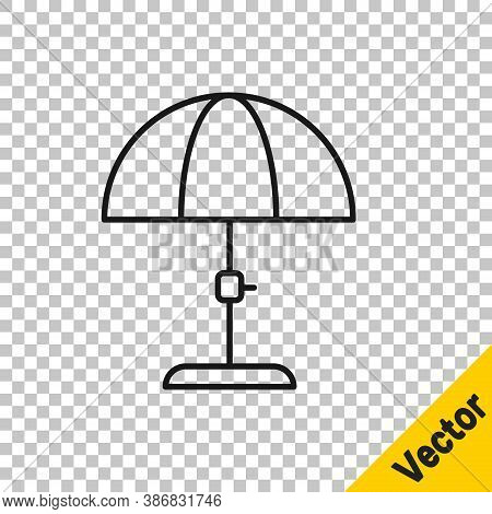 Black Line Sun Protective Umbrella For Beach Icon Isolated On Transparent Background. Large Parasol
