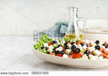 Greek Salad Horiatiki With Feta Cheese, Vegeterian Mediterranean Food, Low Calories Diet