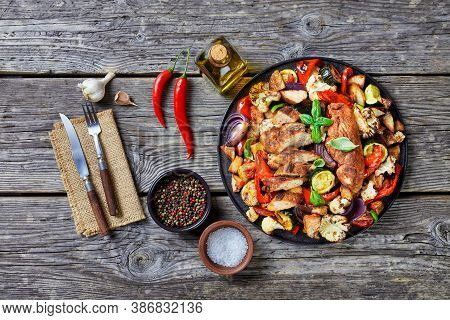 Roasted Veggies, Potatoes, Cauliflowers Florets, Zucchini, Red Onions And Spicy Chicken Breast On To