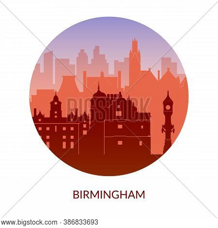 Birmingham, England Famous City Scape View. Flat Well Known Silhouettes.