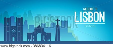 Lisbon, Portugal Famous City Scape View. Flat Well Known Silhouettes.
