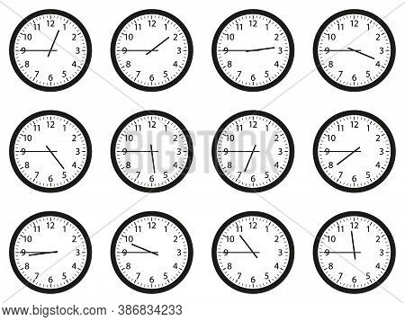 Set Of Analog Wall Clocks With Black Frame And Hands. Flat Style Vector Illustration. Simple Classic